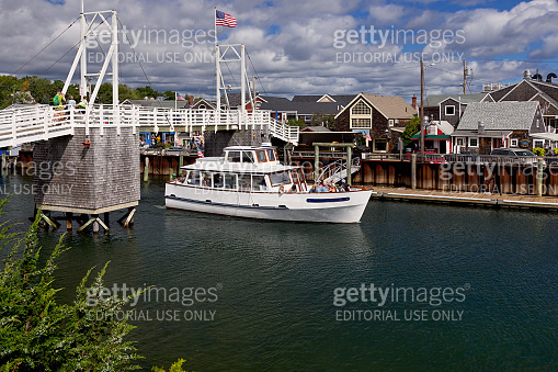 Tour Boat in morning, Perkins Cove, Ogunquit, Maine, New England.