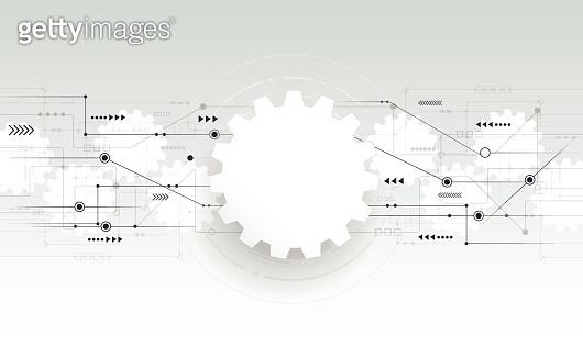 Vector abstract futuristic ,gear wheel engineering on circuit board