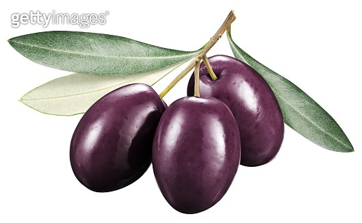 Kalamata olives with leaves.