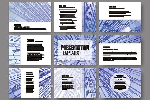 Set of 9 templates for presentation slides. Geometric blue backgrounds