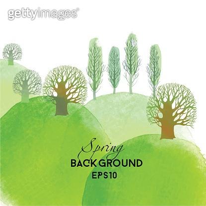 Spring landscape. Watercolor vector background