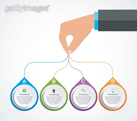 Infographics design template with human hands holding the round blocks.