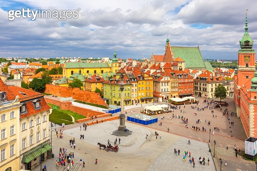 Aerial view of Castle Square in Warsaw, Poland