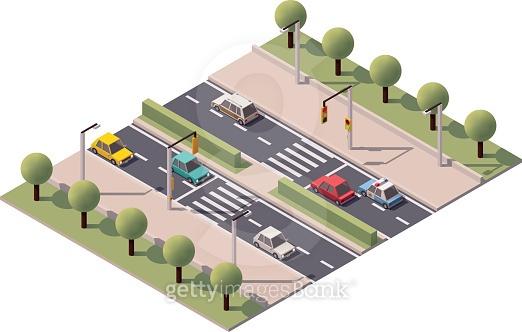 Vector isometric pedestrian crossing