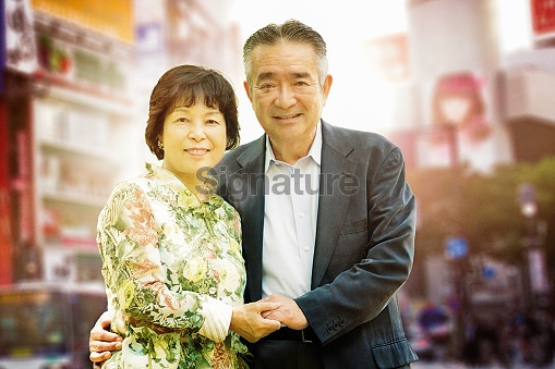 Happy Japanese senior couple portrait in Shibuya Tokyo