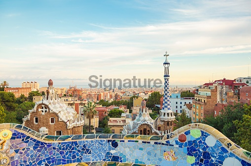 Gaudi's Parc Guell and skyline of Barcelona, Spain