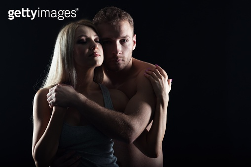 Young couple hugging. isolated shot