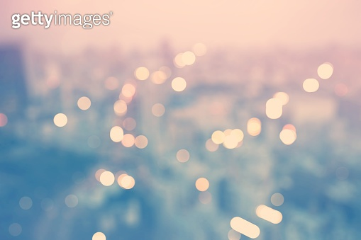 Blurred cityscape background scene from above