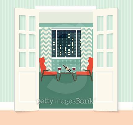 flat open doors living room, romantic evening . vector illustration