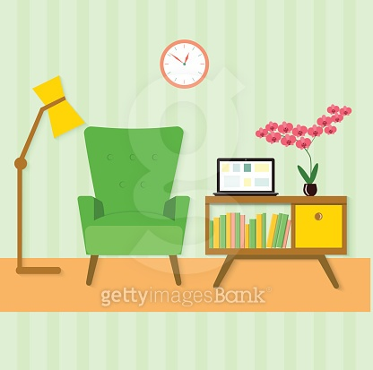 flat place for reading in living room. vector illustration