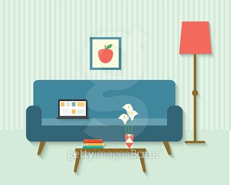 flat retro living room . vector illustration