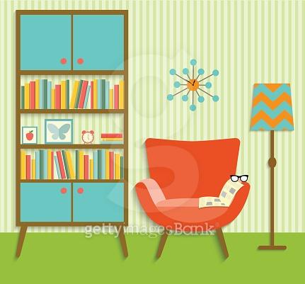 flat retro interior living room .vector illustration