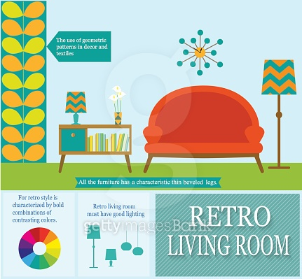 infographics flat style living room. vector illustration