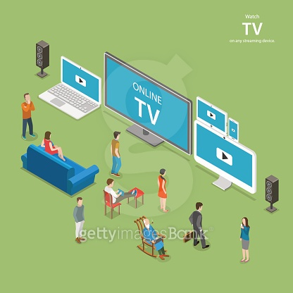 Streaming TV isometric flat vector illustration.