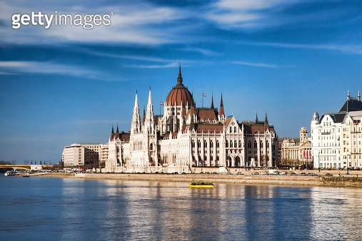 Famous Parliament with Danube river in Budapest, Hungary