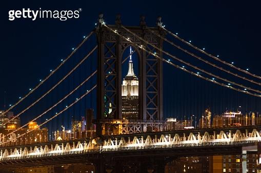 Manhattan Bridge framing Empire State Building