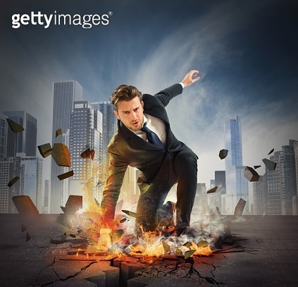 Hero determinated businessman