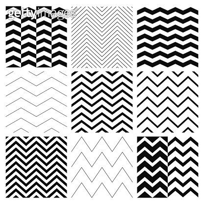 Seamless Black and White Geometric Background Set