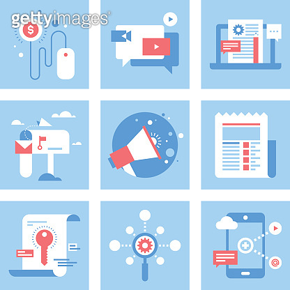 Red, white, and blue digital marketing illustrations