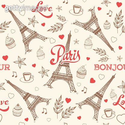 Paris hand drawn seamless pattern vector