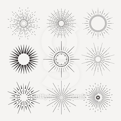 9 Art deco vintage sunbursts collection with geometric shape