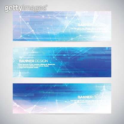 Vector banners set with polygonal abstract shapes, with circles, lines