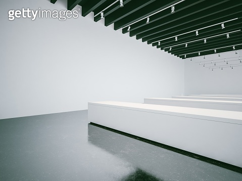 White gallery interior with empty walls and black ceiling. 3d