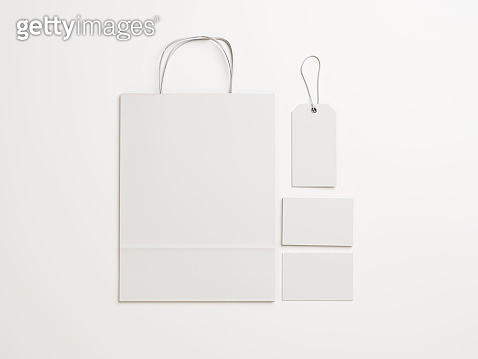 Set of  white identity elements for a shop