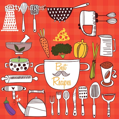 Best Recipes-Set of kitchen tools on cconcept background. Vector