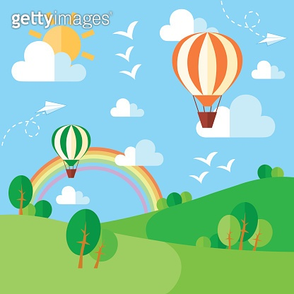 Landscape with hot air balloons, illustration in flat style
