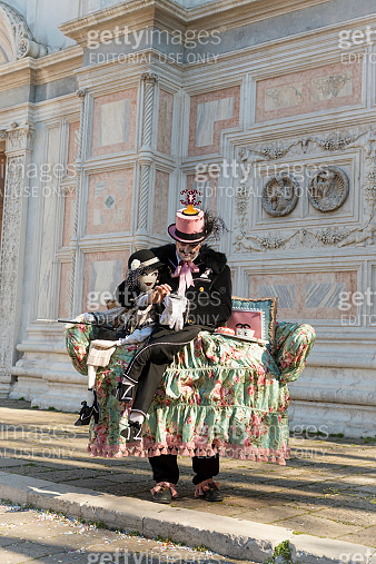 Artist Performing Sofa Surfing, Venice Carnival at Zaccaria, Italy, Europe