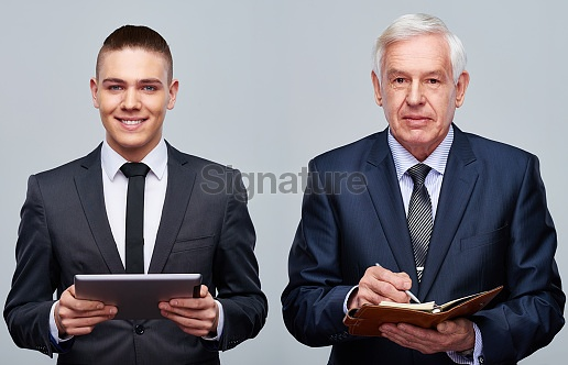 Two generations of businessmen