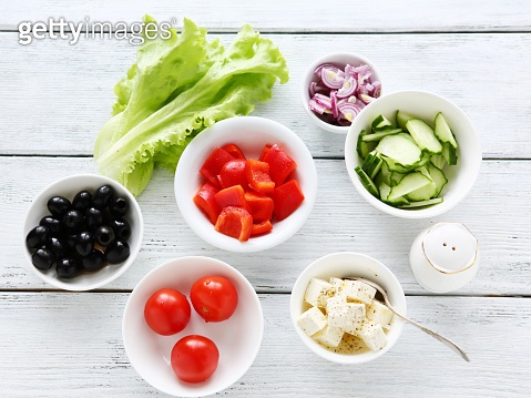 ingredients for a salad, cooking