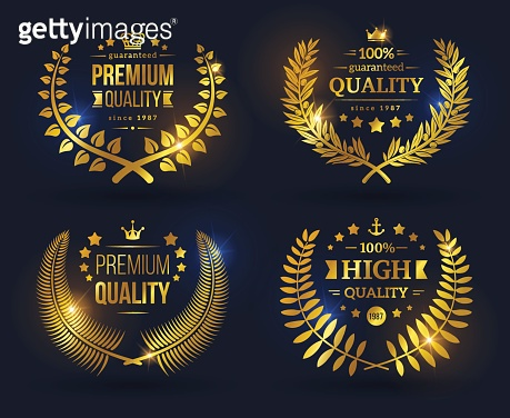 Vector quality emblems with laurel wreath.