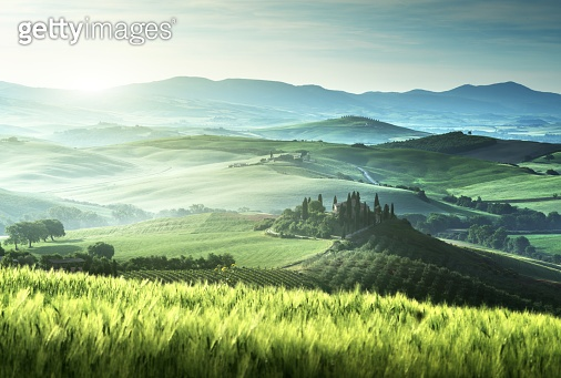 Early spring morning in Tuscany, Italy