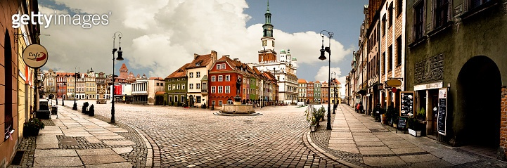 Panorama of market place in the center of Poznań