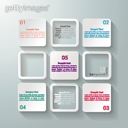 White Rectangle Squares 5 Options