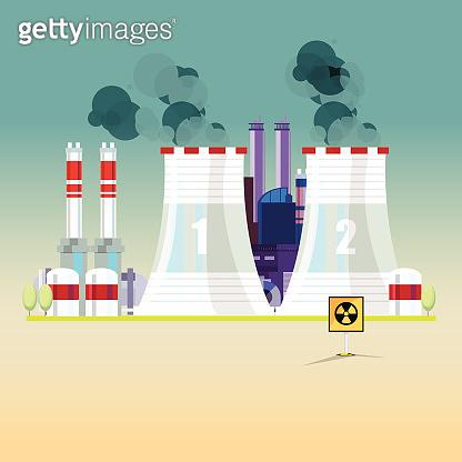 nuclear power plant - vector illustration