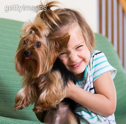 Cute little girl with yorkshire terrier indoor