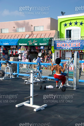 Afro American Man at Muscle Beach