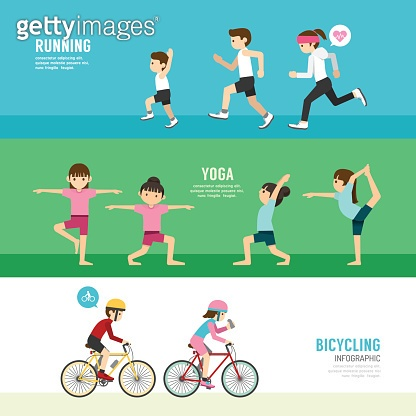 sports design health concept people exercise set , cycling, run