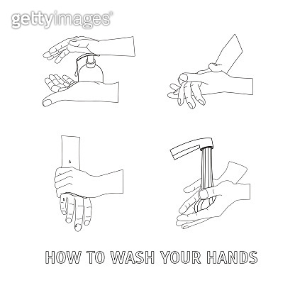 Hands Washing Thin Line. Vector