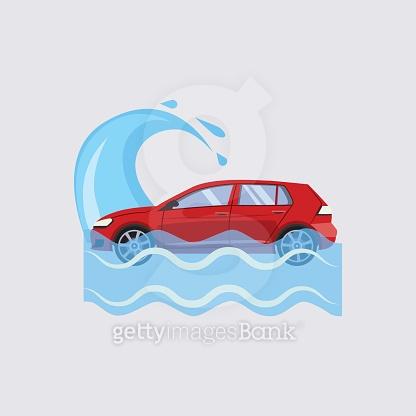 Car Insurance and Flood Risk Vector Illustration