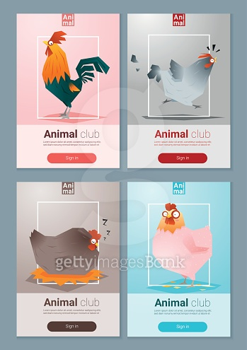Set of templates with chicken for web design 1