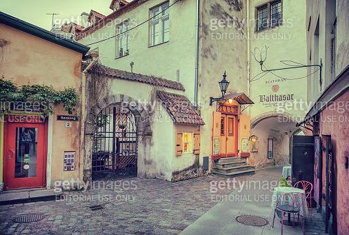 Tallinn, Estonia - May 30, 2016: medieval street and restaurant