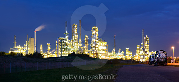 Panorama of Industrial Plant at Night, Refinery and Paper Factory