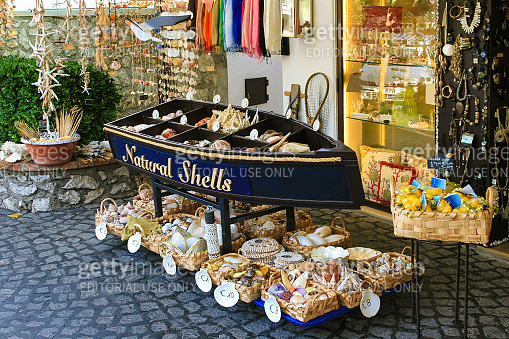 Gift Shop Selling Souvenirs made from Sea Shells, Capri, Italy.