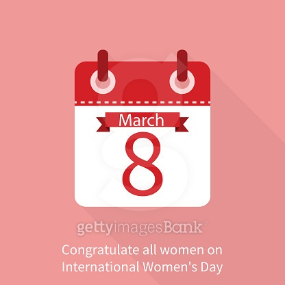 Calendar 8 March. International womens day on 8th march