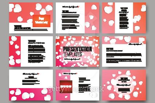 Set of 9 templates for presentation slides. White paper hearts