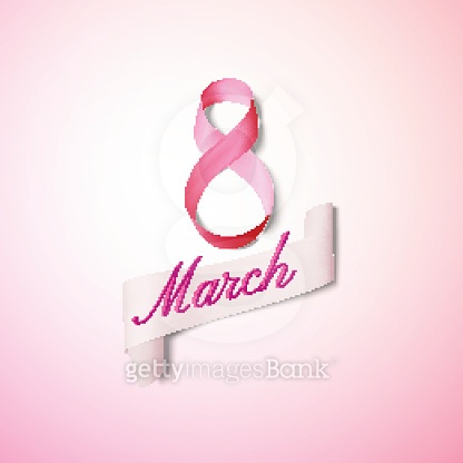 Greeting card for 8 March with banner and symbol of